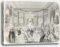 Постер Emperor Napoleon III and empress at Grand Ball. Created by Godefroy-Durand, published on L'Illustrat