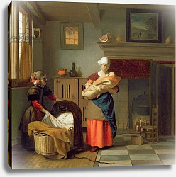 Постер Хук Питер Nursemaid with baby in an interior and a young girl preparing the cradle