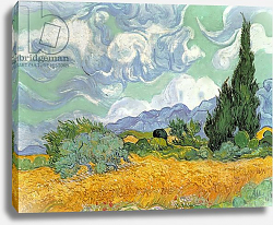 Постер Ван Гог Винсент (Vincent Van Gogh) Wheatfield with Cypresses, 1889