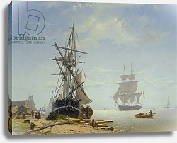 Постер Девентер В. Ships in a Dutch Estuary, 19th century