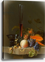 Постер Уолскеппел Якоб Still life of fruit on a ledge with a roemer and a wine glass