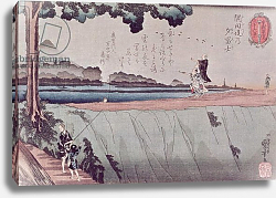 Постер Киниоши Утагава Mount Fuji from the Sumida River embankment, one of the views from Edo, c.1842