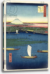 Постер Утагава Хирошиге (яп) Marshy island off the mouth of the River Sumida, with Edo and Mt. Fuji in the distance, c.1857,