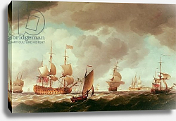 Постер Брукинг Чарльз An English Vice-Admiral of the Red and his Squadron at Sea, c.1750-59