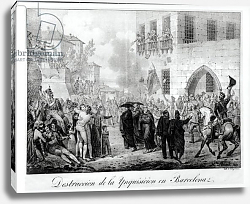 Постер Леком Ипполит Destruction of the Inquisition in Barcelona, 10th March 1820, engraved by Godefroy Engelmann
