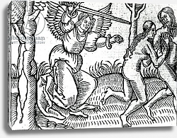 Постер Школа: Английская 15в The Expulsion from the Garden of Eden, illustration from Cranmer's Bible, 1540