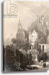 Постер Робертс Давид Trarbach, engraved by E.I. Roberts, illustration from 'The Pilgrims of the Rhine' published 1840
