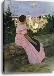 Постер Базиль Жан The Pink Dress, or View of Castelnau-le-Lez, Herault, 1864