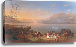 Постер Леком Ипполит Empress Josephine arriving to visit Napoleon in Italy on the banks of Lake Garda, 1796
