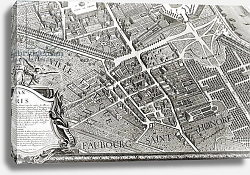 Постер Бретез Луи (карты) Plan of Paris, known as the 'Plan de Turgot', engraved by Claude Lucas, 1734-39 6