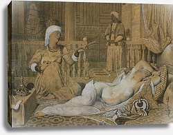 Постер Ингрес Джин Odalisque with a Slave, 1858