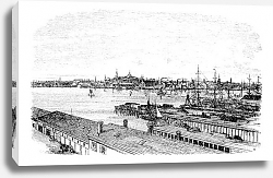 Постер Boston, in Massachusetts, USA, during the 1890s, vintage engraving