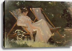 Постер Кройер Севрин The artist's wife sitting in a garden chair at Skagen, 1893