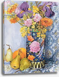 Постер Фивси Джоан (совр) Iris and Pinks in a Japanese Vase with Pears