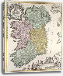 Постер Хоманн Йоханн Map of Ireland showing the Provinces of Ulster, Munster, Connaught and Leinster, by Homann