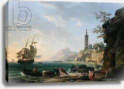 Постер Верне Клод A Coastal Mediterranean Landscape with a Dutch Merchantman in a Bay, 1769