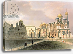 Постер Арнаут Луи (акв) View of the Cathedrals in the Moscow Kremlin, printed by Lemercier, Paris, 1840s