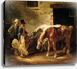 Постер Жерико Теодор Two Post Horses at the Door of a Stable