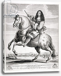 Постер Холлар Вецеслаус (грав) Equestrian Portrait of Charles II with a Landscape, published c.1670