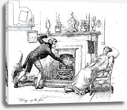 Постер Томсон Хью (грав) 'Piling up the fire', illustration to 'Pride & Prejudice' by Jane Austen, edition published in 1894