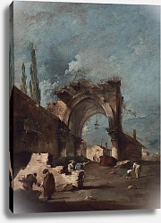 Постер Гварди Франческо (Francesco Guardi) A capriccio of buildings on the laguna with figures by a ruined arch