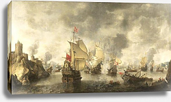Постер Беерстратен Ян Battle of the combined Venetian and Dutch fleets against the Turks in the Bay of Foja
