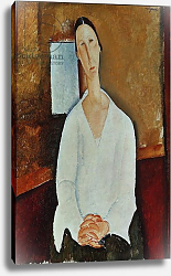 Постер Модильяни Амедео (Amedeo Modigliani) Madame Zborowska with Clasped Hands, c.1917