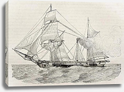 Постер Steamer old illustration. Published on Magasin Pittoresque, Paris, 1840