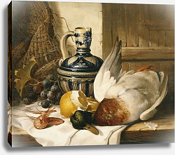 Постер Ладель Эдвард A Mallard, a Jug, a Peeled Lemon, Grapes and Shrimps on Draped Ledge,
