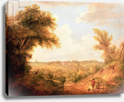 Постер Гейнсборо Томас Landscape with house, 18th century