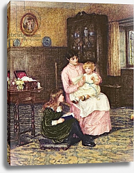 Постер Элингем Хелен Mother playing with children in an interior