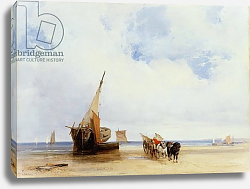Постер Бонингтон Ричард Beached Vessels and a Wagon near Trouville, c.1825