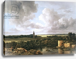 Постер Русдал Якоб Landscape with Ruined Castle and Church, c.1665-70