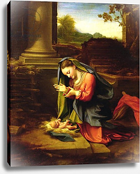 Постер Корреджо (Correggio) Our Lady Worshipping the Child, c.1518-20