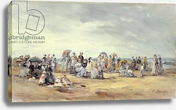Постер Буден Эжен (Eugene Boudin) The Beach at Trouville, 1873