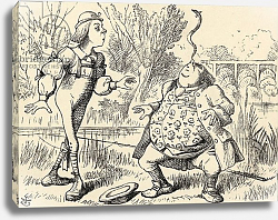 Постер Тениель Джон Father William balancing an eel on his nose, from 'Alice's Adventures in Wonderland'