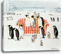 Постер Уоттс Э. (совр) Penguins on a red and white sofa, 1994