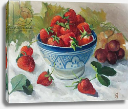 Постер Анжелини Кристиана (совр) Strawberries in a Blue Bowl