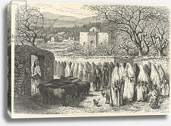 Постер Риоу Эдуард Marabout and Procession: Tlemcen, engraved by Henri Theophile Hildibrand