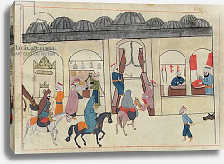 Постер Школа: Венецианская 17в. Ms. cicogna 1971, miniature from the 'Memorie Turchesche' depicting the covered market in Istanbul