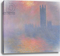 Постер Моне Клод (Claude Monet) The Houses of Parliament, London, with the sun breaking through the fog, 1904