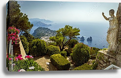 Постер Италия, Капри. Panoramic view of Capri from Mount Solaro