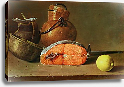 Постер Мелендес Луис Still Life with a Piece of Salmon, a Lemon and Kitchen Utensils