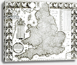 Постер Холлар Вецеслаус (грав) Map of England and Wales, 1644