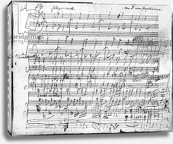 Постер Бетховен Людвиг Autograph score sheet for the 10th Bagatelle opus 119