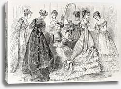 Постер Evening and dance wear in 1868, Paris. Created by Pauquet, published on L'Illustration, Journal Univ