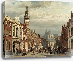 Постер Спрингер Корнелис View of the Town Hall and St Lawrence's Church in Alkmaar