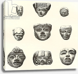 Постер Школа: Испанская 19в. Stone heads and masks found at Teotihuacan, Mexico