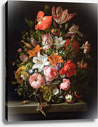 Постер Руйш Рейчел Still life of roses, lilies, tulips and other flowers in a glass vase with a Brindled Beauty