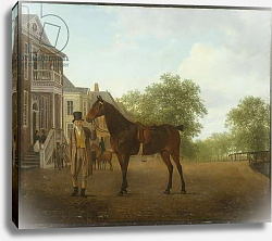 Постер Агассе Жак A Gentleman holding a Saddled Horse in a Street by a Canal